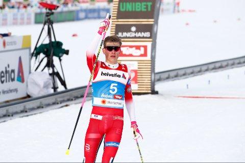 Seefeld, Østerrike 20190221. Johannes Høstflot Klæbo først i mål under finalen i mennenes sprint i ski-VM i Seefeld. Foto: Terje Pedersen / NTB scanpix