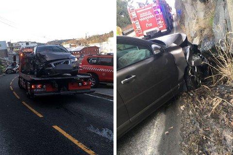 Bilen fikk store skader i fronten, på høyre side, og ble tauet vekk.