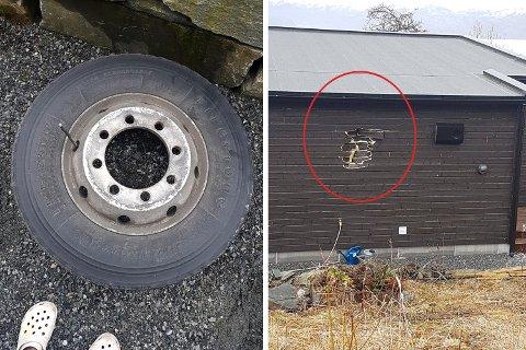 Hjulet laget et hull i veggen til Beate.