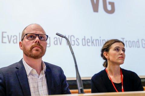Sjefredaktør Gard Steiro og nyhetsredaktør Tora Bakke Håndlykken under VGs egen evaluering av avisens dekning av den såkalte Giske-videosaken.