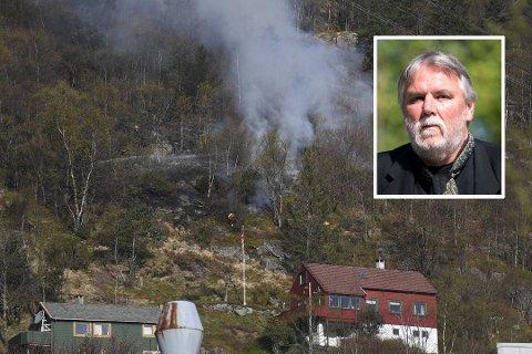 Det røde huset på bildet tilhører Finn Bjørn Tønder. – Ekkelt å se at det brenner så nærme, sier han til BA.