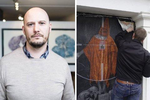 Gallerist Christer Holm i Gategalleriet reagerer på at AFK-bildet taes ned.