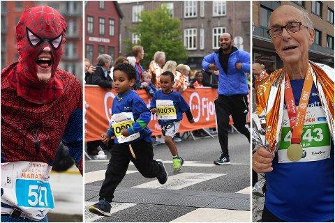 "Petter ""Spiderman"" Henriksen (23), Kidus Dawit (4) og Terje Valen (76) – Bergen City Marathon er så mangt!"