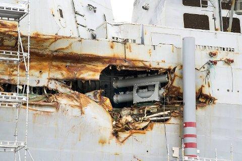 Fregatten ble sjøsatt i begynnelsen av april for å fraktes inn til tørrdokken på Haakonsvern. Nå gjennomføres kun midlertidige reparasjoner.
