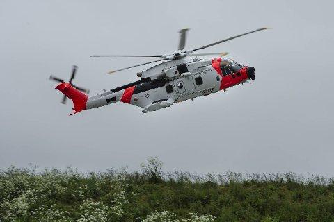Ett av AW 101-helikoptrene skal gjennomføre testflyginger ved Haukeland universitetssjukehus i Bergen i mai. Foto: NTB Scanpix