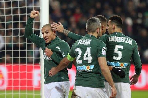 Saint-Etienne og Wahbi Khazri (t.v.) er bankere på midtukekupongen. (AP Photo/Laurent Cipriani)
