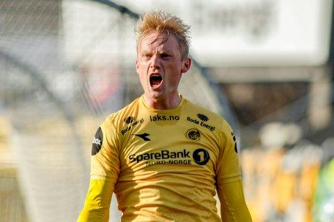 Geir André Herrem og Bodø/Glimt har fått en strålende start på sesongen. Her jubler Glimt-spissen etter at han ga hjemmelaget ledelsen 2-0 mot  Lillestrøm på Aspmyra stadion tidligere denne sesongen.  Foto: Mats Torbergsen / NTB scanpix