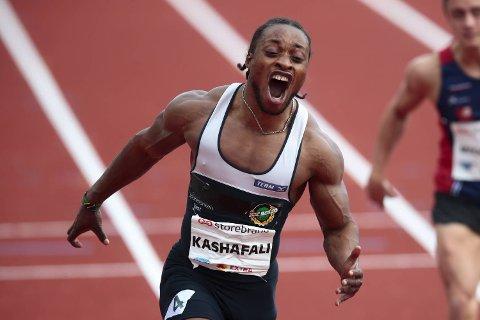 Salum Ageze Kashafali under 100 meter nasjonal øvelse under Bislett Games 2019 på Bislett stadion i Oslo.