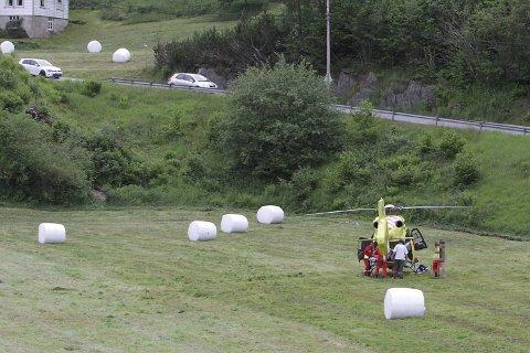 En fem år gammel jente ble hentet med luftambulansen etter en ulykke i Os lørdag ettermiddag.
