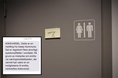 På legevakten på Askøyhenger det lapp med advarsel om smittefare på døren. Meldingen som ble sendt til beboerne på sms er innfelt i bildet.