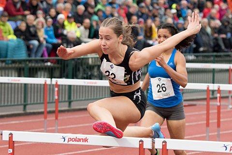Martine Hjørnevik har tatt seg til finalen på 100 meter hekk under U20-EM i friidrett. Her fra Trond Mohn Games tidligere i år.