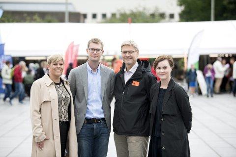 Helsebyråd Beate Husa (KrF), sosialbyråd Erlend Horn (V), daglig leder for kirkens bymisjon Arne Lynngård og skolebyråd Linn Engø (Ap) er glade for samarbeidet.