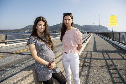 Sara Opsahl Myklebust (t.v.) er gravid og besvimte da hun kjørte bilen til Stendi Assistanse med en jente i baksetet. Nå føler hun seg presset ut av jobben. Her sammen med søsteren Malin Opsahl Myklebust.
