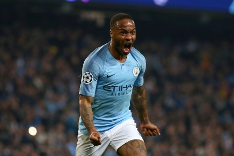Manchester City's Raheem Sterling celebrates before his goal was disallowed for offside against Manchester City's Sergio Aguero following a VAR review during the Champions League quarterfinal, second leg, soccer match between Manchester City and Tottenham Hotspur at the Etihad Stadium in Manchester, England, Wednesday, April 17, 2019. (AP Photo/Dave Thompson)