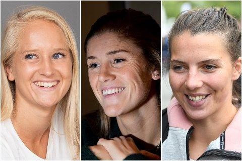 Premier League-proffene fra Bergen. Fra venstre: Amalie Eikeland (Reading), Maren Mjelde (Chelsea) og Cecilie Kvamme (West Ham).