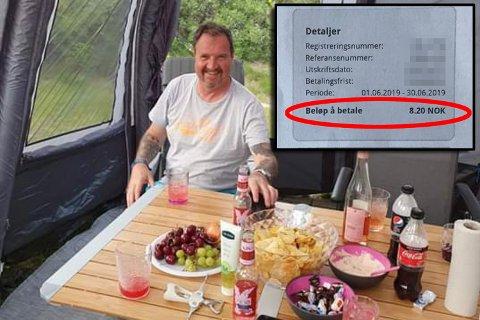 Helge Andersen fikk seg en gledelig overraskelse etter biltur frem og tilbake til Stockholm, ble regningen på 8 kroner og 20 øre.