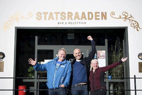 Ove Trellevik (H), Statsraad-direktør Haakon Vatle og Silje Hjemdal (Frp) møttes på Bradbenken lørdag.