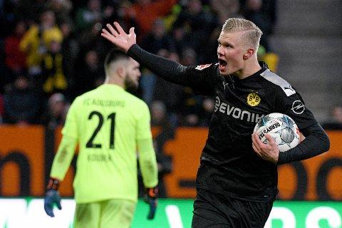 Augsburg, Tyskland 20200118.  Erling Braut Haaland i kampen mellom FC Augsburg - Borussia Dortmund, på WWK Arena. Foto: Stefan Puchner / DPA / NTB scanpix