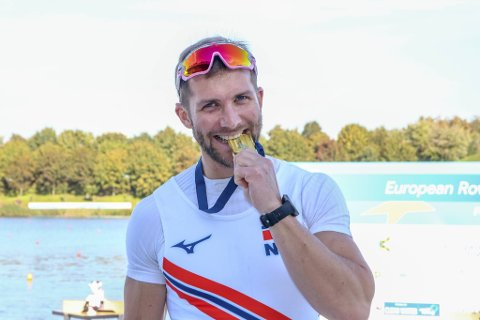 Kristoffer Brun (32) spurtet inn til EM-gull søndag. - De siste 250 meterne er det bare å lukke øynene, dra det man har og håpe at mållinjen kommer kjapt, sier han om avslutningen.