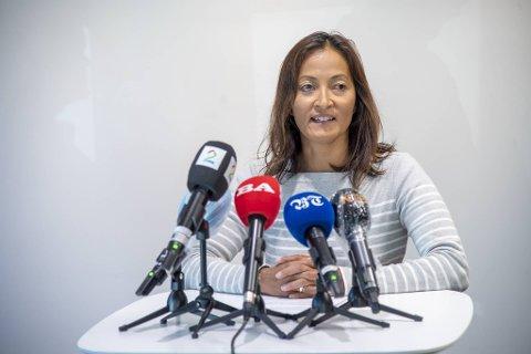 Smittevernoverlege i Bergen Karina Koller Løland under en pressekonferanse tidligere i høst.