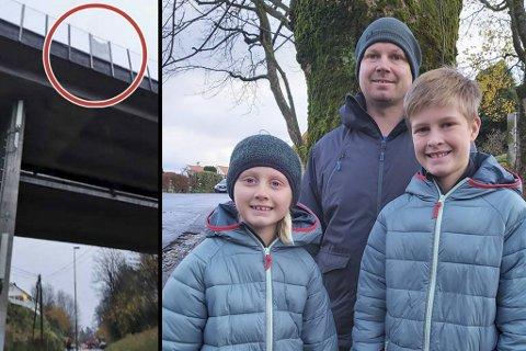 Daniel Ekren er svært bekymret for datteren Milla og sønnen Noah etter at en glassplate knuste og falt ned over skoleveien deres.