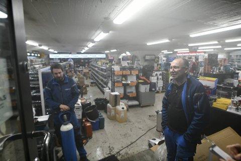 – Trist, sier Lindqvist-eier Gunnar Skjolddal om vannskadene butikken ble påført onsdag kveld.