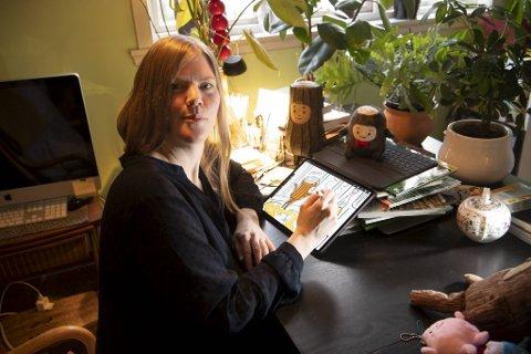 Forfatter og illustratør Åshild Kanstad Johnsen har til og med tegnet en oppskrift på å lage julekurver i sin nye bildebok Kubbe lager verdens beste jul. - Det er veldig vanskelig å tegne! sier hun.