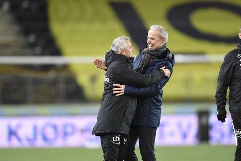 Kåre Ingebrigtsen og Rune Soltvedt kunne glise bredt etter et griseheldig poeng i Kristiansand.