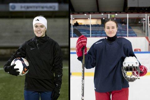 Multitalentet Ragnhild Skage (15) er tatt ut både til ishockeylandslaget og talentleir i fotball.