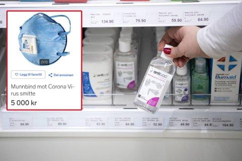 Antibac og munnbind er mangelvare i disse dager. Det gir en oppblomstring av salget på Finn.no.