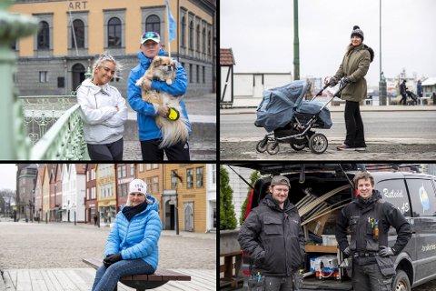 Hele Bergen sliter som følge av koronakrisen. (Øverst fra v.) butikkmedarbeider Ayat Breivik (20) og student Lars Lie Markhus (21). Selvstendig næringsdrivende Zhanna Petryaeva (35). Pensjonist Eva Nilsson (65). Elektrikerne Niklas Helland (18) og Martin Avløyp (30).