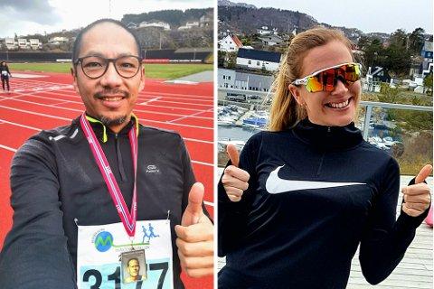 Tomler opp: Alexander Bjørø (44) og Anja Sætre (31) er blant de over 500 som så langt har meldt seg på TIF Vikings finurlige «virtuelle løp» for Bergen City Marathon. Der kan de konkurrere både mot seg selv og andre.