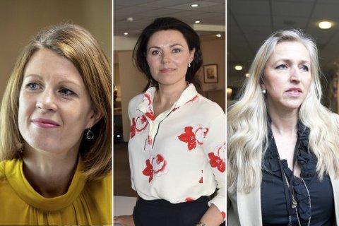 Ragnhild Janbu Fresvik i Sparebanken Vest, Nina Remøy Wiik i Nordea og Sylvelin Gunnarson i DNB.