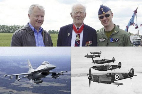 Disse tre fanabuene har etter tur forsvart norsk luftrom siden krigen. (Fra v.) helikopterpilot Rolf Eidem, krigsveteran og avdød sjef for Luftforsvaret Wilhelm Mohr, og nåværende jagerpilot Andreas Eidem som flyr F-16 (nede t.v.). En sveit med Spitfire-jagere på tokt under krigen (t.h.).