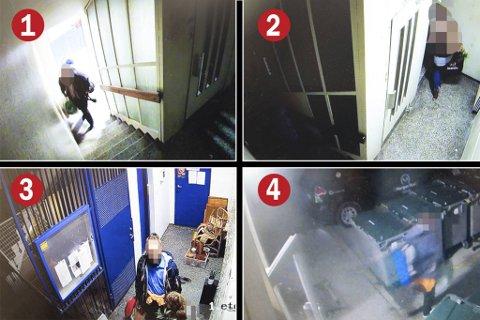 Overvåkingsbildene viser tydelig tyvenes bevegelser i blokken.