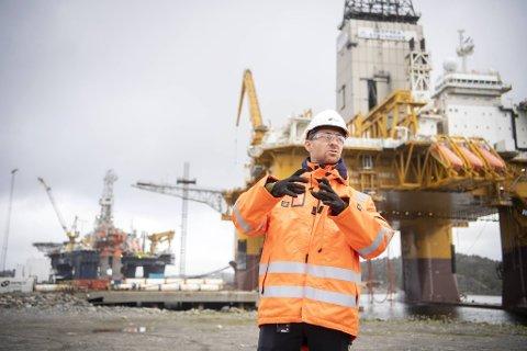 Daglig leder Lars Jønholt Halvorsen i Semco Maritime gleder seg over høy aktivitet på Hanøytangen for tiden.