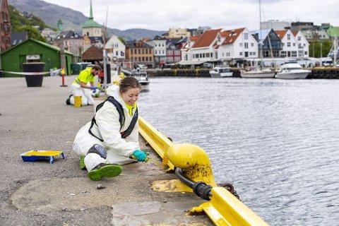 Viola Amundsen Frøien (19) har sommerjobb i Bergen havn. Da har hun blant annet ansvaret for å male kaiskinnene langs Vågen.