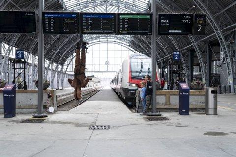 Bjørn Tomren hadde dette hestekostymet liggende. Det kom godt med da han skulle synge hengende opp ned på jernbanestasjonen sist helg.