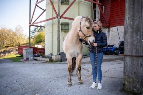 Linn Therese Espeland med fjordingen «Kriptons Robin» som er sykemeldt etter en uønsket episode torsdag. Hesten har to sår på beina.