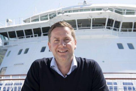 Konsernsjef i Hurtigruten, Daniel Skjeldam, var en svært fornøyd mann før MS «Finnmarken» skulle legge fra kai tirsdag.
