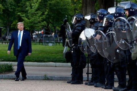 President Donald Trump i Lafayette Park.
