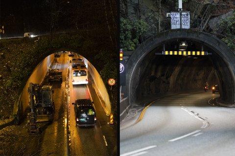 Her ser du Munkebotntunnelen og Fløyfjellstunnelen. Bildet til venstre er tatt av arbeidene i tunnelen i en tidligere fase.
