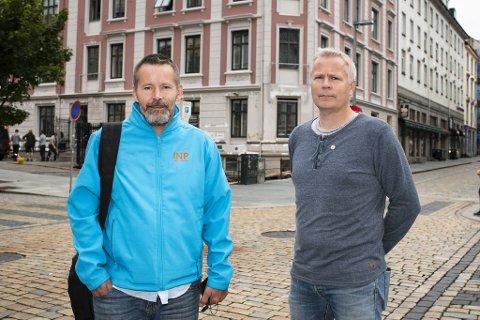Bjarte Helland (t.v.) og Ove Steinestø er frontfigurer i nytt parti.