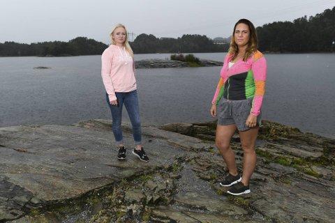 Ann Heidi Mikalsen (37) og Karina Forland Gundersen (33) fikk begge utslett etter bading i Storavannet.