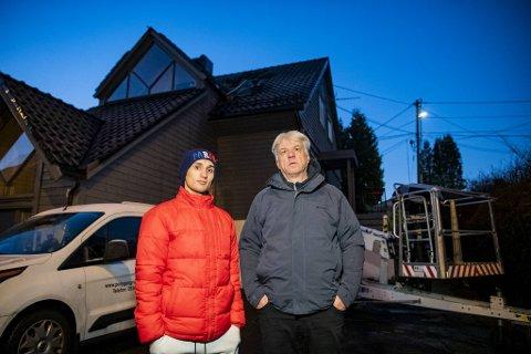 Matin Alizada (t.v.) og Per Haukaas måtte forlate hjemmene sine i hui og hast da flammene sto opp fra taket på nyttårsaften.