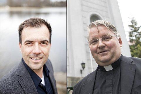 Disse blide herrene, Øystein Gjerme (f.v.) i Salt og Dom Alois Arnstein Brodersen i St. Paul, leder menigheter i sterk vekst.