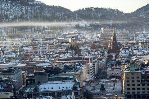 Luftforurensning over Bergen sentrum i dag.
