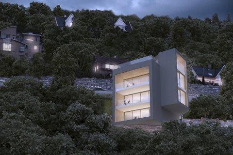 Bygget i Brattlien er tegnet av den anerkjente arkitekten Todd Saunders, og får parkering og inngang til de tre leilighetene på taket. – Et nydelig hus, mener utbygger Birger Grevstad. Illustrasjon: SAUNDERS ARCHITECTURE