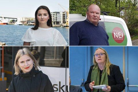 De samlet krefter for å stemme i mot Oslo. Oppe fra venstre: Marte Monstad (Frp), Trym Aafløy, Sofie Marhaug (R) og Anne Berit Reigstad (Sp).