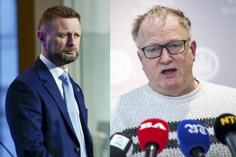 Medisinsk fagsjef i Bergen, Trond Egil Hansen (til høyre) er ikke veldig fornøyd med helseminister Bent Høies strenge tiltak.